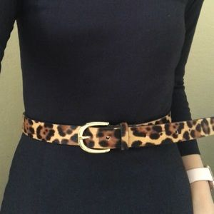J.Crew Women's calf hair leopard belt XS